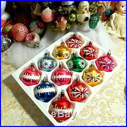12 Vtg Poland small Hand Painted Glass Xmas Ornaments all with Paint or Mica box
