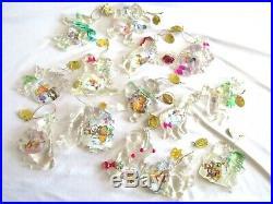 14pcs-2004 Disney-Crystal Clear Holidays-Christmas Ornaments-Bradford Editions