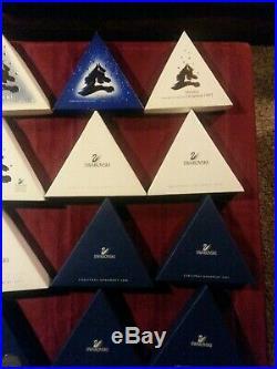 18 Annual Swarovski Crystal Christmas Ornaments 1992 thru 2009, Never Displayed