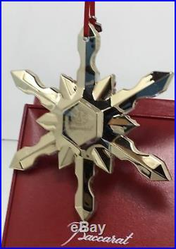 195 Baccarat Crystal Noel Gold Snowflake Ornament 2015 Christmas Tree New in Box