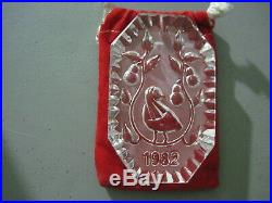 1982 WATERFORD CRYSTAL 12 Days of Christmas Ornament #1 PARTRIDGE in Box