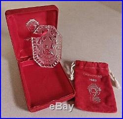 1982 WATERFORD CRYSTAL PARTRIDGE CHRISTMAS ORNAMENT WithBOX & POUCH
