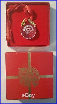 1990 Swarovski Ball Ornament Exquisite Faceted Crystal Ornament Merry Christmas
