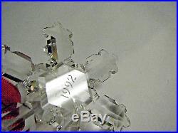 1992 RARE SWAROVSKI SNOWFLAKE CUT CRYSTAL 2nd ANNUAL CHRISTMAS ORNAMENT
