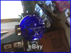 1992 Rare Waterford Crystal Cobalt Blue Ball Christmas Tree Ornament In Box