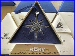 1995 Swarovski Crystal Christmas Tree Star Ornament Collectible COA & Box Mint