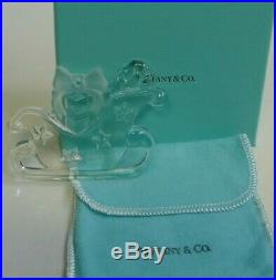 1997 Tiffany & Co. Crystal Sleigh With Presents Boxed Christmas Ornament Signed