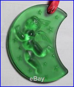1999 Green Cherub Lalique France Crystal Christmas Xmas Annual Noel Ornament box