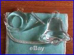 2 Tiffany & Co. Crystal Christmas BELL & FRENCH HORN Ornament withPouch LAST HORN