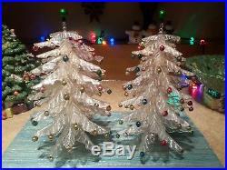 2 Vintage CRYSTAL PINE Tree Christmas Tree Plastic with Mercury Mini Ornaments