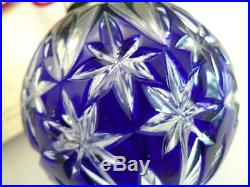 2000 Waterford Cased Crystal Cobalt Blue Christmas Ornament