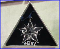 2001 Swarovski 3 Crystal Snowflake Annual Christmas Ornament, Box & Sleeve, Mib