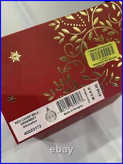 2017 WATERFORD Red Cased Ball Christmas Ornament NIB 40023172