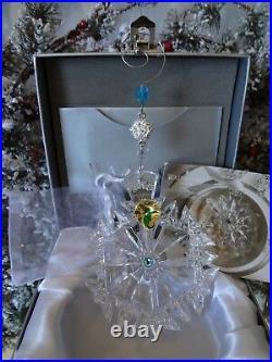 2018 Nib Waterford Annual Snowflake Wishes Aqua Happiness Ornament #154698