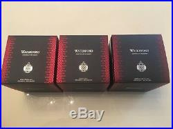 2018 Waterford Christmas Set Of 3 Crystal Balls/Ruby/Emerald/Clear