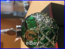 2018 Waterford Christmas Set Of 3 Crystal Balls/Ruby/Emerald/ Clear (RARE)