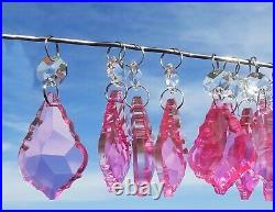 24 Chandelier Pink Leaf Droplets Cut Glass Crystals Christmas Tree Decorations