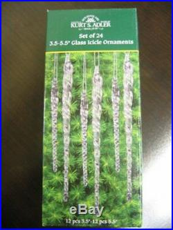 24 Clear Glass Icicle Crystal Twisted Christmas Ornaments Hanging Tree Decor Win
