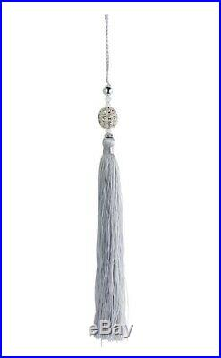 24 Frontgate Medici Silver Crystal Beaded Tassels Christmas Ornament