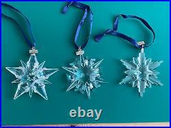 3 Swarovski Christmas Ornament Stars 2001, 2002 &2006 Great Condition No Boxes