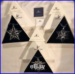 3 Swarovski Crystal Annual Christmas Ornaments 1998 2000 And 2001