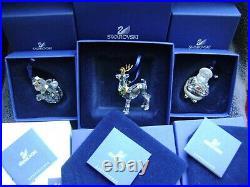 3 Swarovski Crystal Christmas ornaments Reindeer 842767 Santa 681336 snowman 337