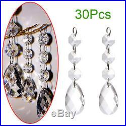 30PCS Crystal Prisms Christmas Drops Ornaments Xmas Tree Candlestick Decorations
