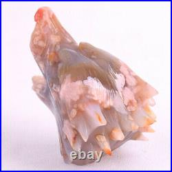 4.8'' Natural Cherry Blossom Agate Geode Carved Wolf Skull, Home Decoration