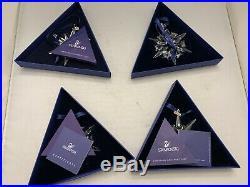 4 Swarovski Crystal Annual Christmas Star Snowflake Ornaments 2005,2007,2009