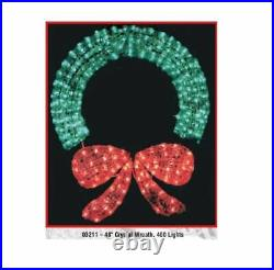 48 Lighted 3D Crystal Wreath Sculpture Christmas Holiday Decoration