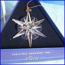 5 Swarovski Crystal Annual Christmas Star Snowflake Ornaments 2003, 2005-2008