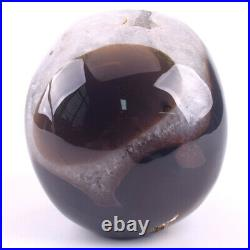 5 in Natural Geode AGATE Carved Crystal Skull, Crystal Healing, Home Decoration