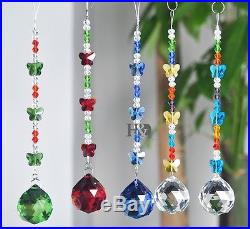 5pcs Crystal Ball Suncatcher Home Hanging Butterfly Ornaments Xmas Decorations
