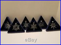 6 SWAROVSKI 2004-2009 CRYSTAL SNOWFLAKE CHRISTMAS ORNAMENTS WithBOX (no paperwork)
