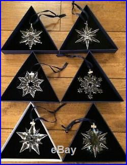 6 SWAROVSKI Crystal Annual Christmas ORNAMENTS LOT 2001'02,'03,'04,'05 & 2006