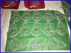 62 pcs Waterford Crystal Christmas Ornaments + Enhancers 1978-2011