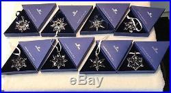 (8) SWAROVSKI Crystal Christmas Ornament Snowflake/LOT/2002,03,05,10,12,13,15,16