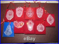 9 Waterford Crystal 12 Days Of CHRISTMAS Ornaments Lot Toc