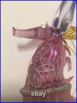 Amethyst Waterford Christmas Seahorse Ornament Box Tag Jim O'Leary Rare