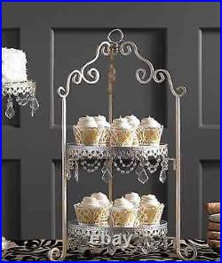 Antique 2 Tier Wedding Crystal Prism Silver Chic Cupcake Decoration Cake Stand