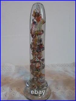 Antique Bohemian Paperweight Obelisk, Mantle Ornament Gnarly Knots Devil's Fire