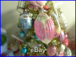 Antique Germany Hand Painted Embossed Glass Xmas BEETLE Ornament Feather Tree