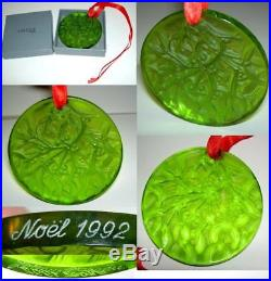 Auth Rare LALIQUE France Lime Green Crystal 1992 Noel Christmas ORNAMENT NIB