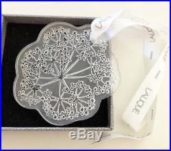 Authentic LALIQUE 2002 Ombelles Umbelas Crystal Christmas L Ribbon Ornament NIB