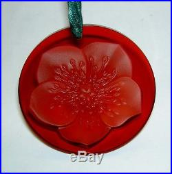 Authentic LALIQUE 2004 NM Red Hellebore Flower Crystal Christmas Ornament Mint