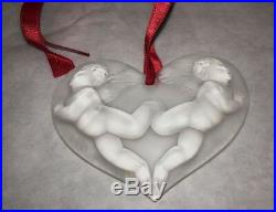 Authentic LALIQUE Christmas 1996 Angel Heart Clear Crystal Ornament Mint in Box