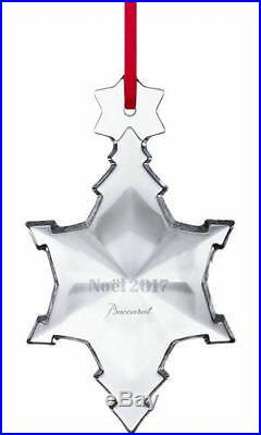 BACCARAT 2017 Annual Noel Ornament Snowflake Christmas Clear Crystal Sealed NIB