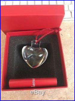 BACCARAT FRANCE FRENCH CRYSTAL PUFFY HEART HANGING CHRISTMAS ORNAMENT with BOXES