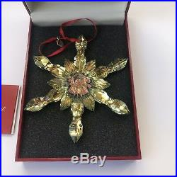 BACCARAT Yellow Crystal Noel Snowflake Christmas Ornament New Made in France