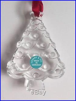 BNIB Tiffany & Co Crystal Christmas Tree Ornament Decoration With Box, Bag Pouch